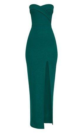Emerald Green Bandeau Folded Detail Extreme Split Maxi Dress   PrettyLittleThing USA