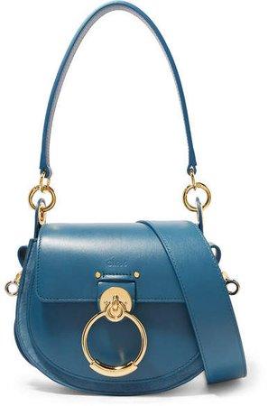 Tess Leather And Suede Shoulder Bag - Blue