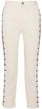 Cropped Embroidered High-rise Straight-leg Jeans