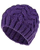 MINAKOLIFE Soft Slouchy Hat Extra Long Cable Knit Beanie Cap Purple at Amazon Women's Clothing store