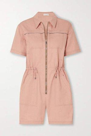 Bead-embellished Cotton-blend Gabardine Playsuit - Pink