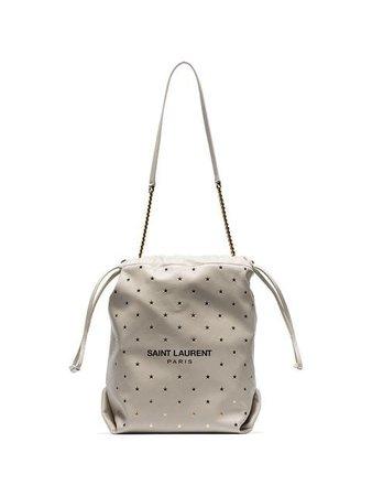 Saint Laurent Cream Star Studded Chain Handle Pouch Bag - Farfetch