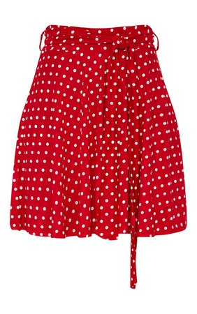 Red Jersey Polkadot Tie Waist Skirt   Skirts   PrettyLittleThing