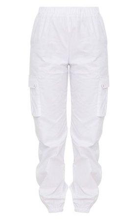 White Pocket Detail Cargo Pants   PrettyLittleThing USA