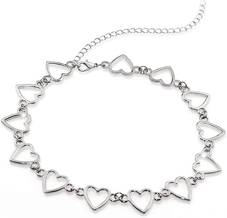 Amazon.com: Suyi Choker Necklace - Simple Heart Chain Choker Statement Clavicle Necklace Gift for Women Girls Necklace Jewerly HeartSilver: Clothing