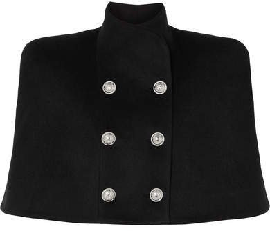 Button-embellished Double-breasted Wool And Cashmere-blend Cape - Black