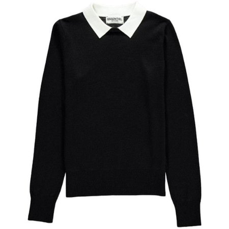 Black sweater with white collar