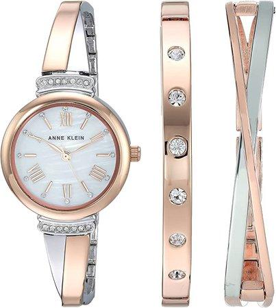 Anne Klein Women's AK/2245RTST Swarovski Crystal Accented Rose Gold-Tone and Silver-Tone Bangle Watch and Bracelet Set: Anne Klein