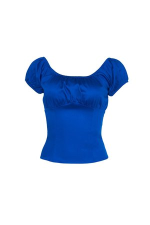 Pinup Couture Peasant Top in Dark Royal Blue | Retro Style Blouse | Pinup Girl Clothing