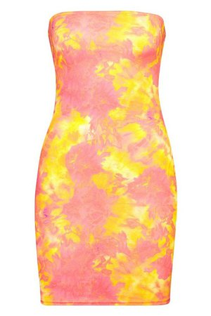 Tie Dye Bandeau Bodycon Mini Dress | Boohoo