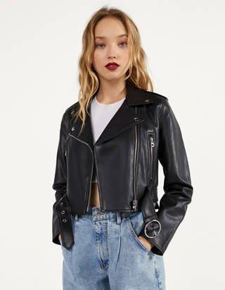 Bershka Faux leather biker jacket