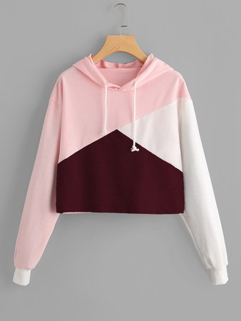 Cut And Sew Panel Crop Hoodie