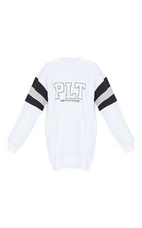 PRETTYLITTLETHING White Slogan Contrast Panel Detail Sweater Dress | PrettyLittleThing USA