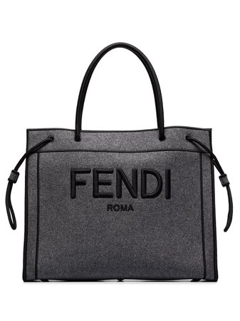 Shop Fendi Fendi logo-embroidered tote bag with Express Delivery - Farfetch