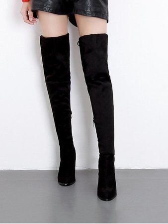 [NEW] 2018 High Heel Drawstring Over The Knee Boots In BLACK EU 38 | ZAFUL