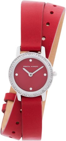 Major Double Wrap Leather Strap Watch, 22mm