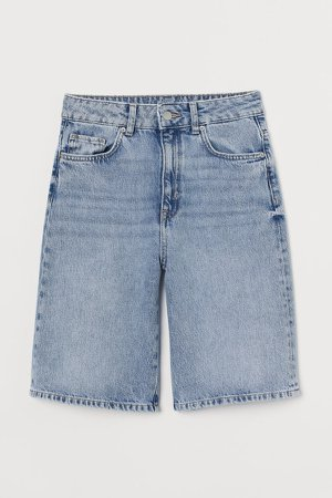 Wide High Waist Shorts - Blue
