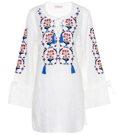 Wildflower embroidered linen dres