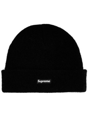 Shop black Supreme logo-patch beanie with Express Delivery - Farfetch