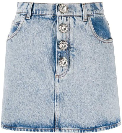 crystal buttons denim skirt