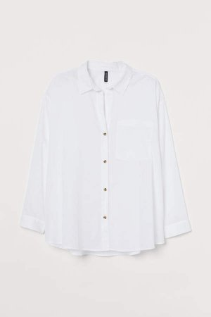 H&M+ Oversized Cotton Shirt - White