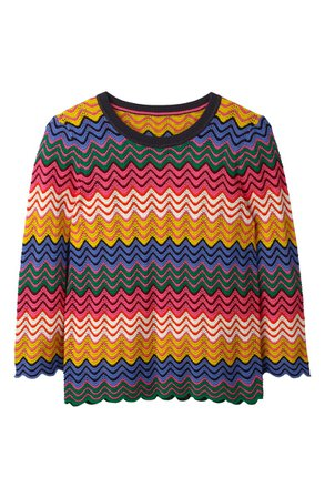 Boden Powis Stripe Cotton Pointelle Sweater | Nordstrom