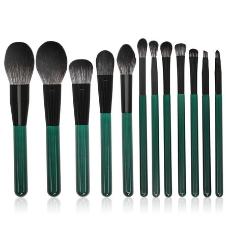 New 12 Makeup Brushes Dark Green Microcrystalline Silk Wooden Handle Makeup Brush Set Beauty Tools Wholesale Brushes Free Makeup Samples From Sophine06, $20.19| DHgate.Com