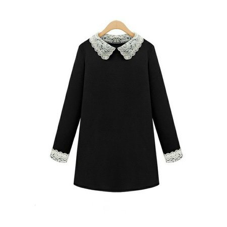 Victoria Beckham Dress 2015 Europe and America Lace Peter pan Collar Long Sleeve Loose T Shirt Dress Large Size S 4XL-in Dresses from Women's Clothing & Accessories on Aliexpress.com | Alibaba Group