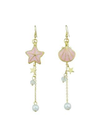 Star Shell Shape Simulated Pearl Dangle Earrings
