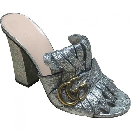 Marmont Silver Leather Sandals
