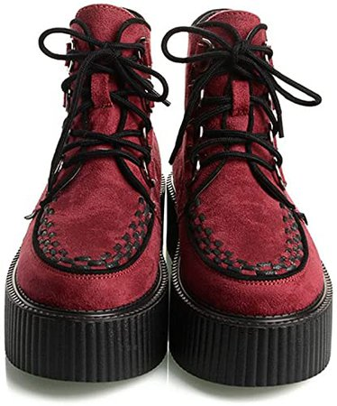 Amazon.com | RoseG Women's High Top Suede Lace Up Flat Platform Creepers Shoes Boots Multicolor Size5 | Ankle & Bootie