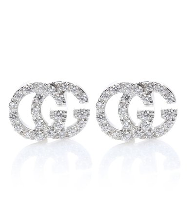 Running G 18Kt White Gold Diamond Earrings - Gucci | mytheresa