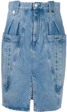 pleated-waist denim pencil skirt