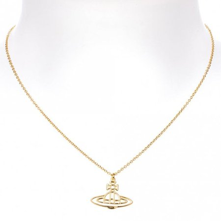 Vivienne Westwood Thin Lines Flat Orb Short Pendant Necklace Gold Tone - BP1284/3 - Jewellery from Bijouled UK