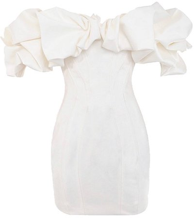 house of CB white ruffle off shoulder dress