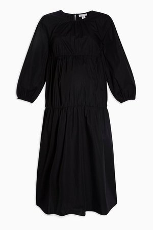 **MATERNITY Black Tiered Poplin Smock Dress | Topshop