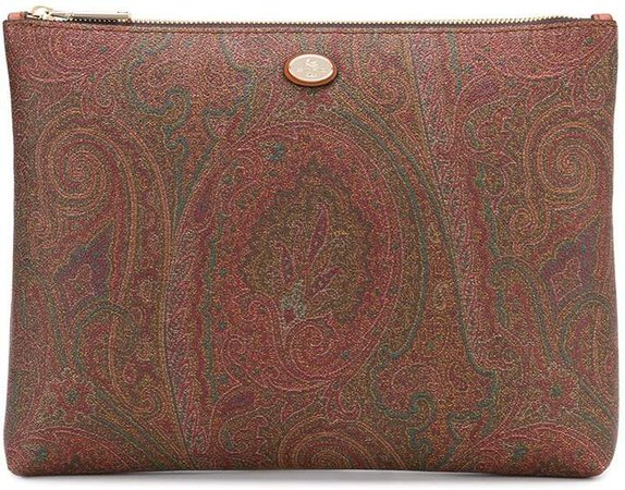 paisley print leather clutch