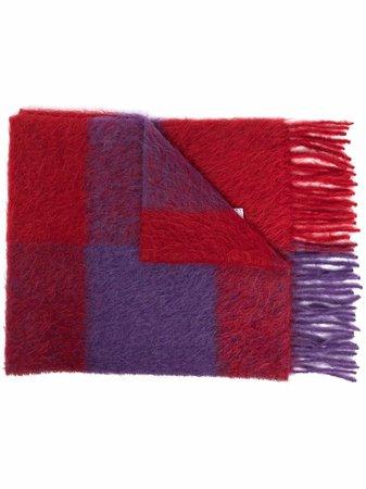Marni fringed check knit scarf - FARFETCH