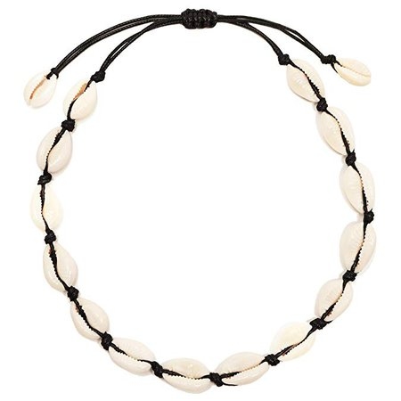 Seashell Choker Necklace with Black String