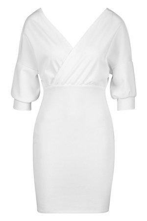 Off Shoulder Crepe Mini Dress White   Boohoo