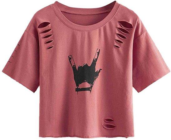 SweatyRocks Women's Short Sleeve T Shirt Graphic Print Distressed Crop Top Gesture Light Pink Medium at Amazon Women's Clothing store
