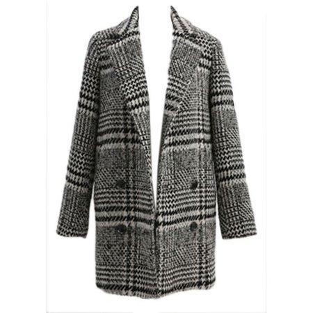 Gray Lapel Vintage Womens Elegant Lapel Plaid Chic Tweed Coat
