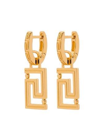 Versace Gold Plated Greca Earrings - Farfetch