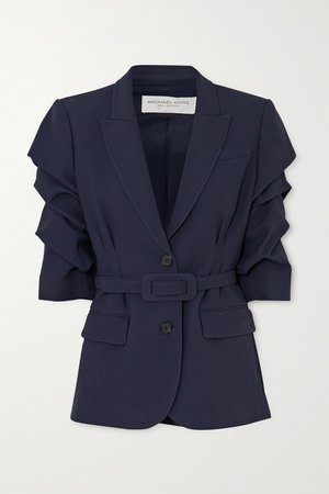 Midnight blue Belted gathered cady blazer | Michael Kors Collection | NET-A-PORTER