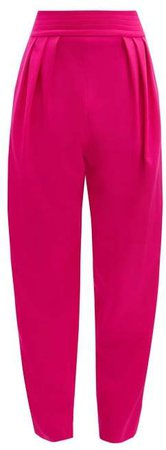 The High Rise Wool Blend Trousers - Womens - Pink