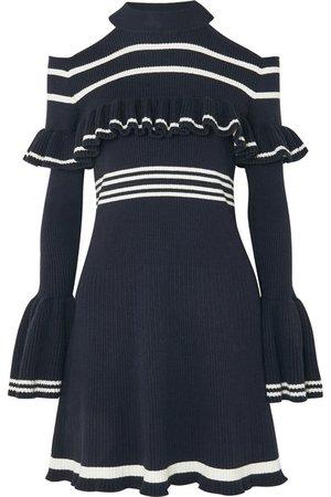 Self-Portrait | cold-shoulder ruffled striped dress