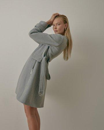 Wool-Blend Belted Coat