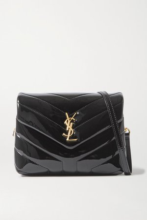 Loulou Toy Mini Quilted Patent-leather Shoulder Bag - Black