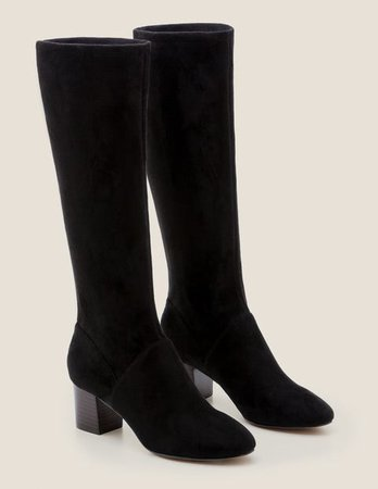 Round Toe Stretch Boots - Black