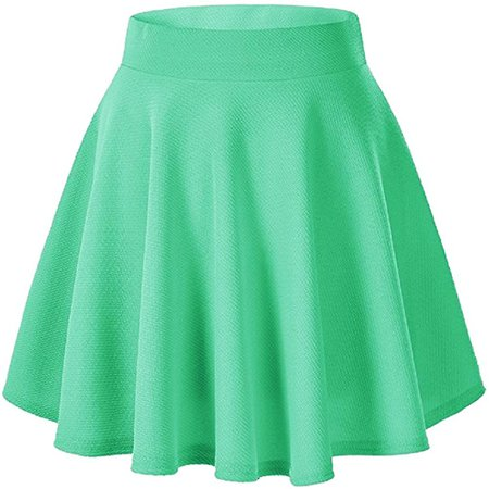Moxeay Women's Basic A Line Pleated Circle Stretchy Flared Skater Skirt (Small, Red) at Amazon Women's Clothing store